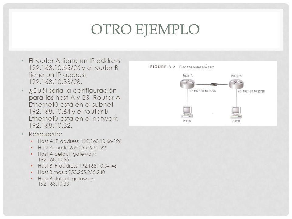 OTRO EJEMPLO El router A tiene un IP address 192.168.10.65/26 y el router B tiene un IP address 192.168.10.33/28. ¿Cuál sería la configuración para lo