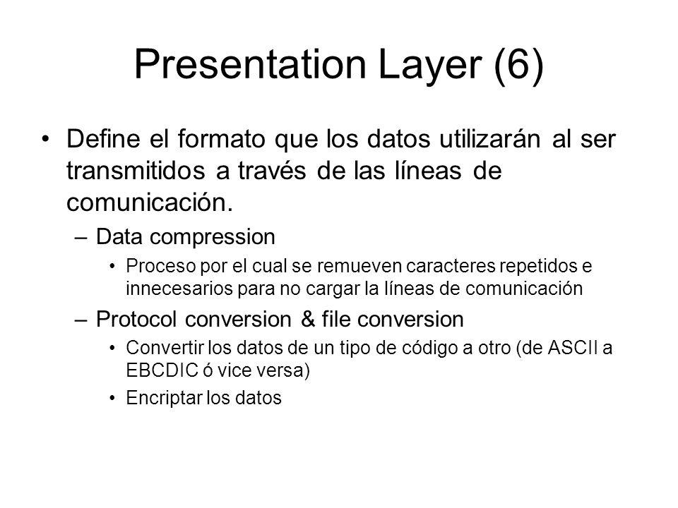 Presentation Layer (6) Define el formato que los datos utilizarán al ser transmitidos a través de las líneas de comunicación. –Data compression Proces
