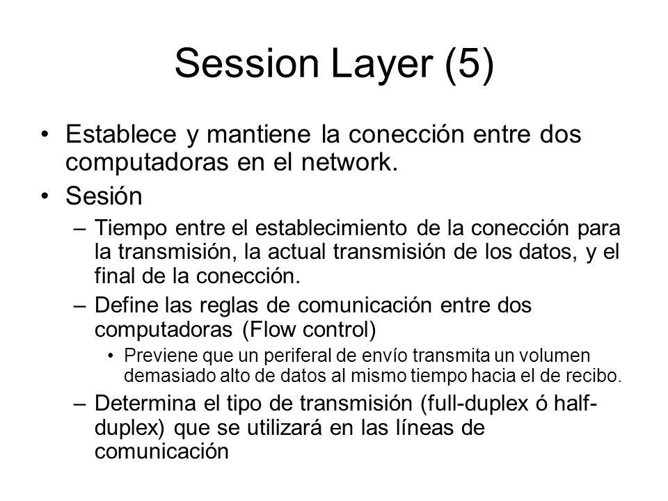 Session Layer (5) Establece y mantiene la conección entre dos computadoras en el network. Sesión –Tiempo entre el establecimiento de la conección para