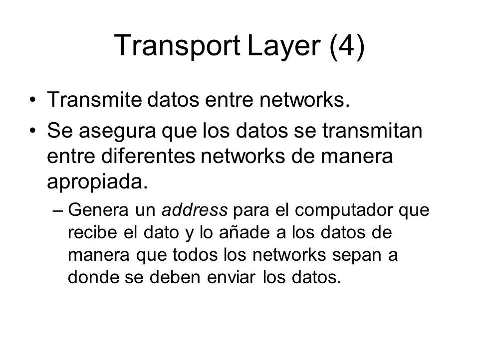 Transport Layer (4) Transmite datos entre networks. Se asegura que los datos se transmitan entre diferentes networks de manera apropiada. –Genera un a