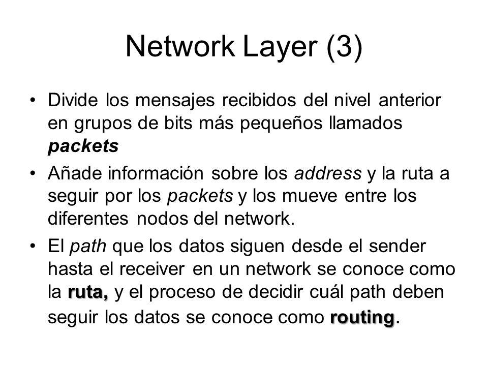 Network Layer (3) Divide los mensajes recibidos del nivel anterior en grupos de bits más pequeños llamados packets Añade información sobre los address