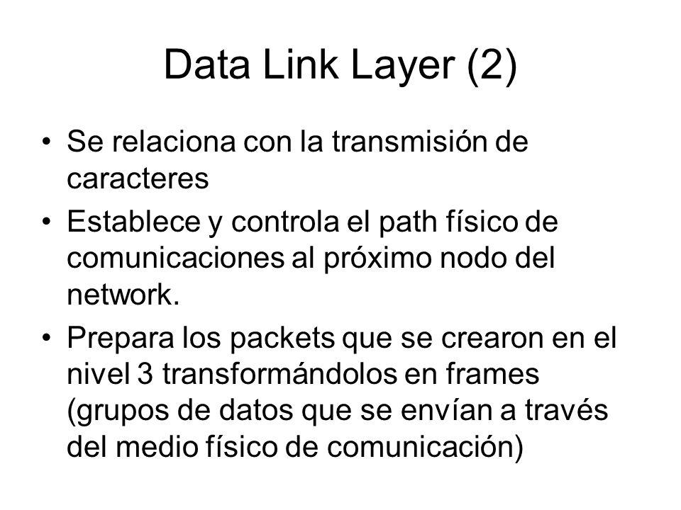 Data Link Layer (2) Se relaciona con la transmisión de caracteres Establece y controla el path físico de comunicaciones al próximo nodo del network. P