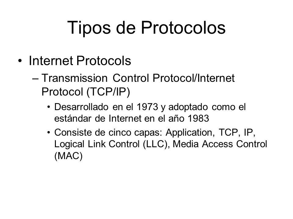 Tipos de Protocolos Internet Protocols –Transmission Control Protocol/Internet Protocol (TCP/IP) Desarrollado en el 1973 y adoptado como el estándar d