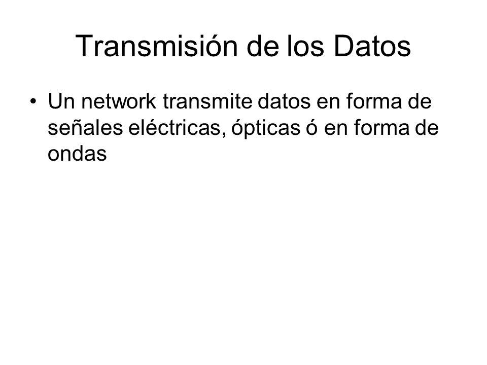 Transmisión de los Datos Un network transmite datos en forma de señales eléctricas, ópticas ó en forma de ondas