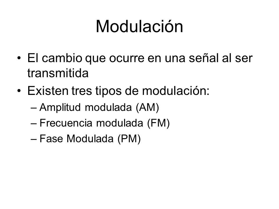 Modulación El cambio que ocurre en una señal al ser transmitida Existen tres tipos de modulación: –Amplitud modulada (AM) –Frecuencia modulada (FM) –F