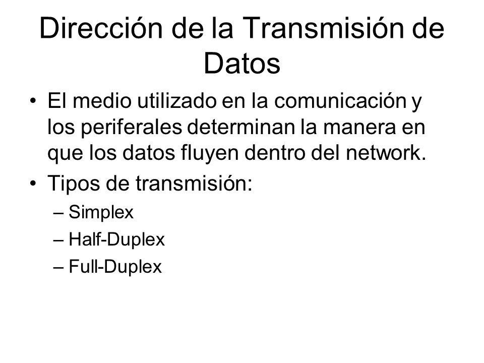 Dirección de la Transmisión de Datos El medio utilizado en la comunicación y los periferales determinan la manera en que los datos fluyen dentro del n