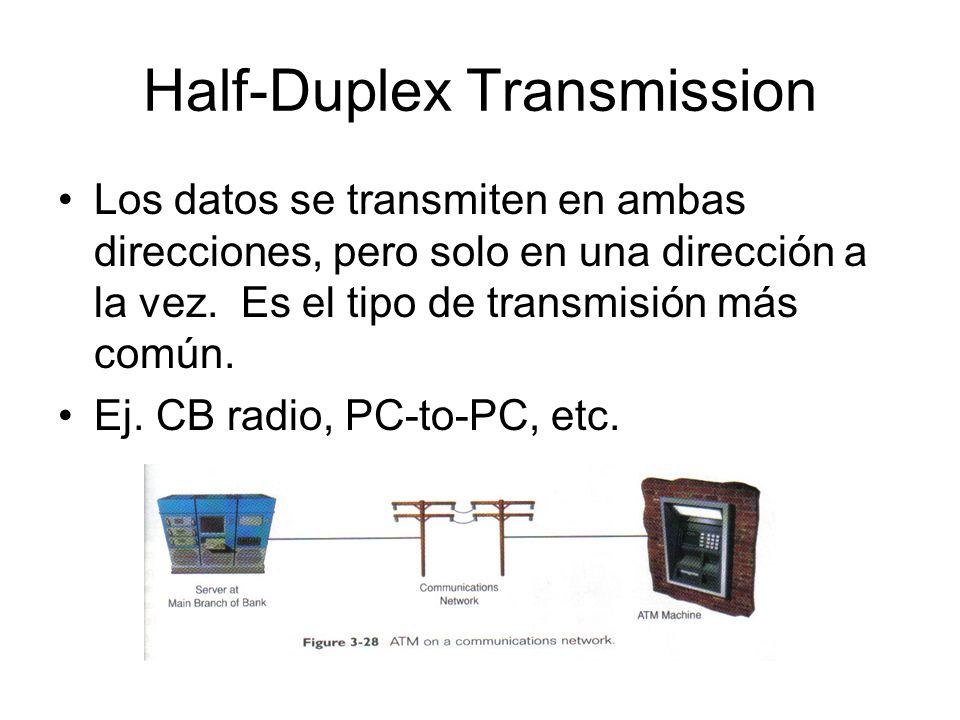 Half-Duplex Transmission Los datos se transmiten en ambas direcciones, pero solo en una dirección a la vez. Es el tipo de transmisión más común. Ej. C