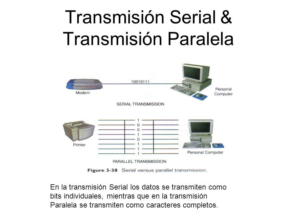 Transmisión Serial & Transmisión Paralela En la transmisión Serial los datos se transmiten como bits individuales, mientras que en la transmisión Para