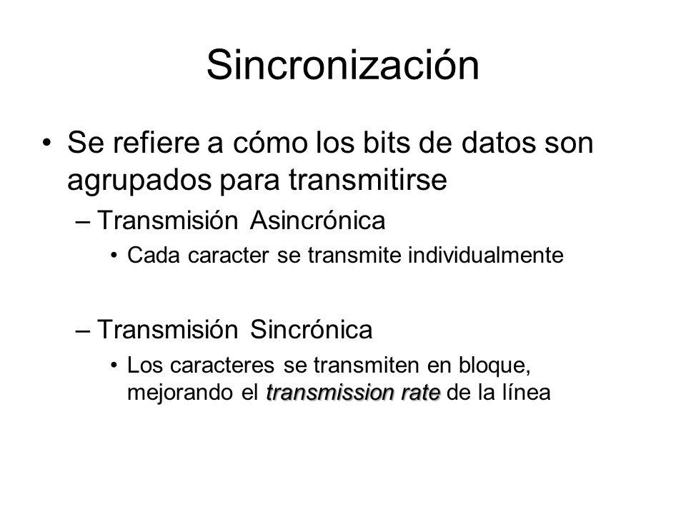 Sincronización Se refiere a cómo los bits de datos son agrupados para transmitirse –Transmisión Asincrónica Cada caracter se transmite individualmente