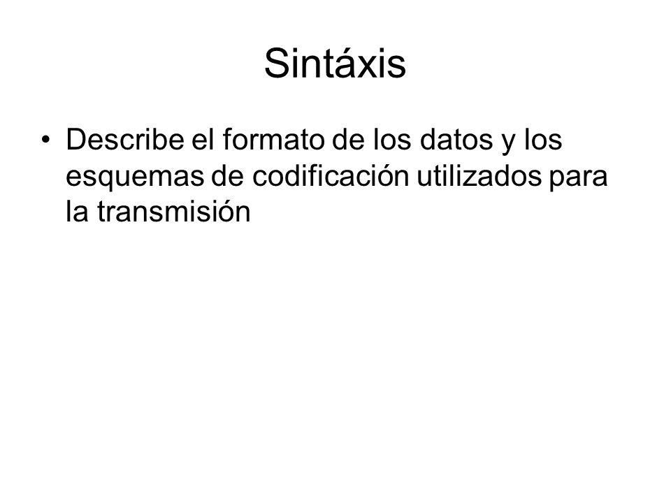 Sintáxis Describe el formato de los datos y los esquemas de codificación utilizados para la transmisión