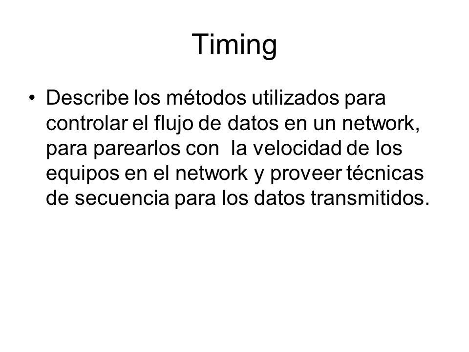 Timing Describe los métodos utilizados para controlar el flujo de datos en un network, para parearlos con la velocidad de los equipos en el network y