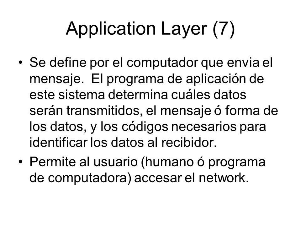 Application Layer (7) Se define por el computador que envia el mensaje. El programa de aplicación de este sistema determina cuáles datos serán transmi
