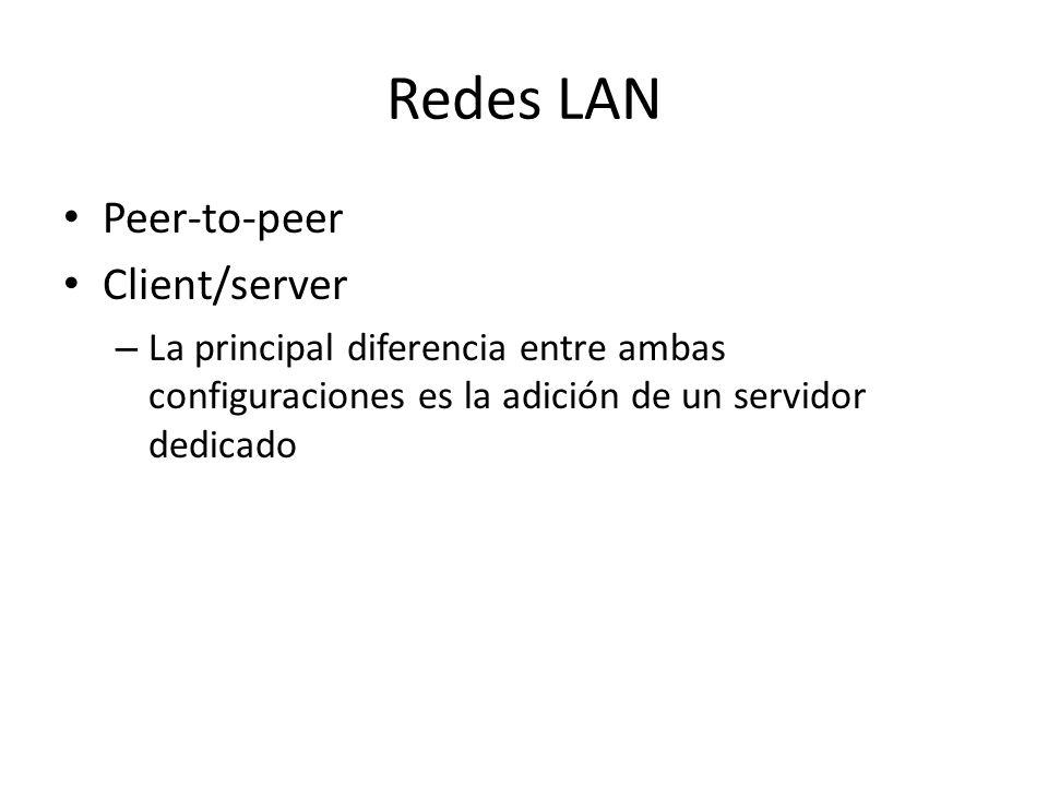 Redes LAN Peer-to-peer Client/server – La principal diferencia entre ambas configuraciones es la adición de un servidor dedicado