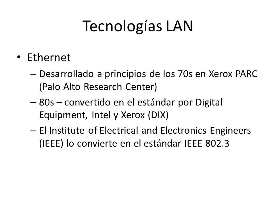 Tecnologías LAN Ethernet – Desarrollado a principios de los 70s en Xerox PARC (Palo Alto Research Center) – 80s – convertido en el estándar por Digita