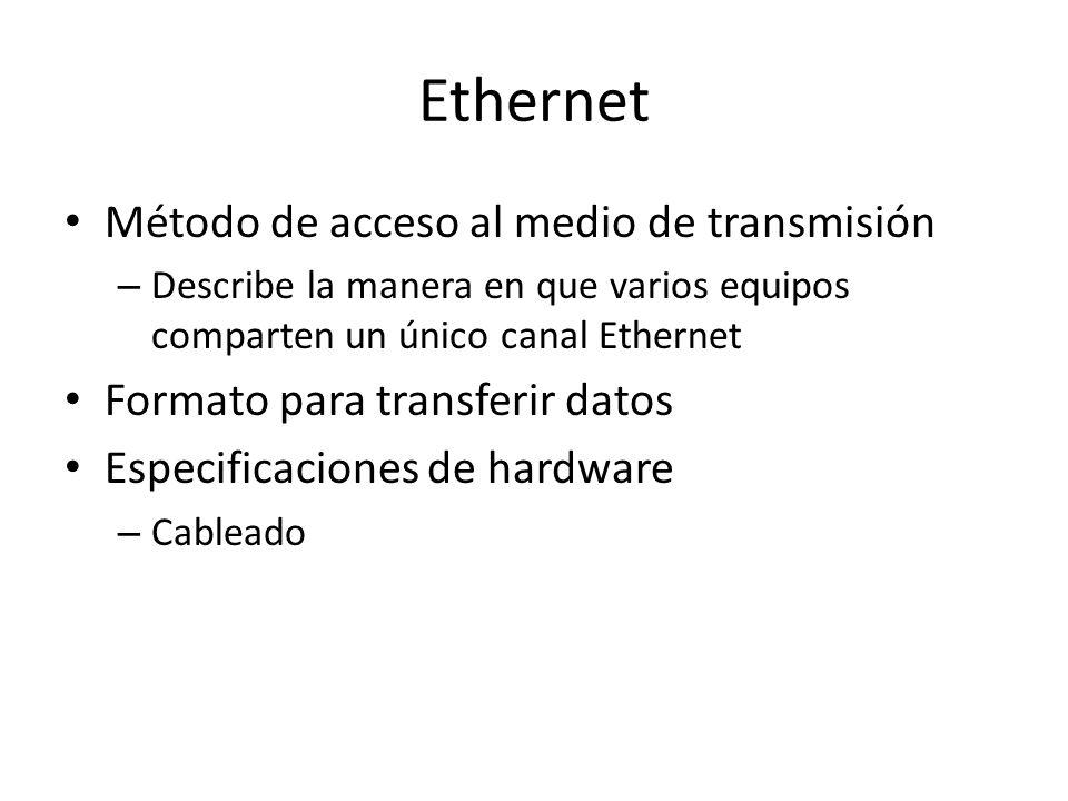 Ethernet Método de acceso al medio de transmisión – Describe la manera en que varios equipos comparten un único canal Ethernet Formato para transferir