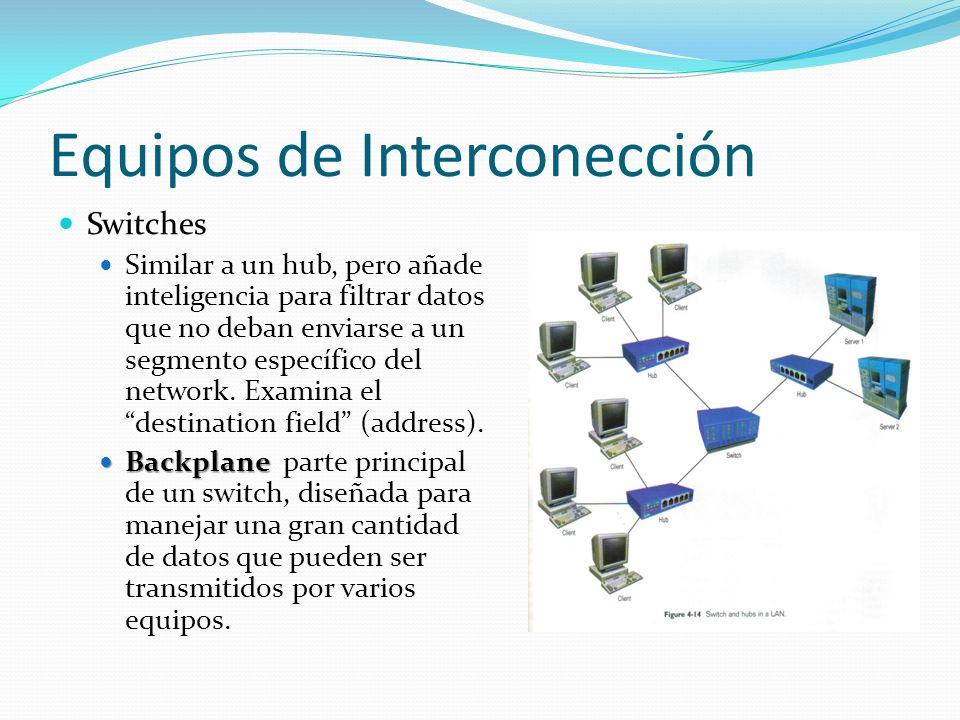 Equipos de Interconección Switches Similar a un hub, pero añade inteligencia para filtrar datos que no deban enviarse a un segmento específico del net