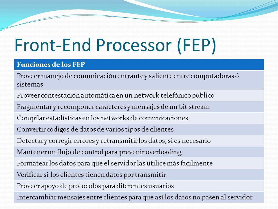 Front-End Processor (FEP) Funciones de los FEP Proveer manejo de comunicación entrante y saliente entre computadoras ó sistemas Proveer contestación a