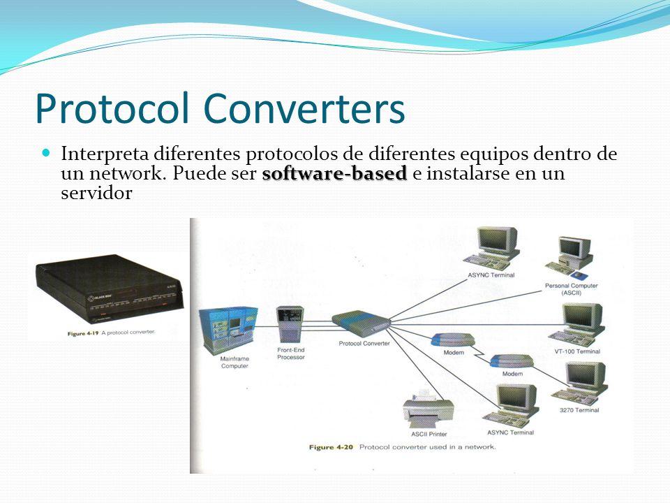 Protocol Converters software-based Interpreta diferentes protocolos de diferentes equipos dentro de un network. Puede ser software-based e instalarse
