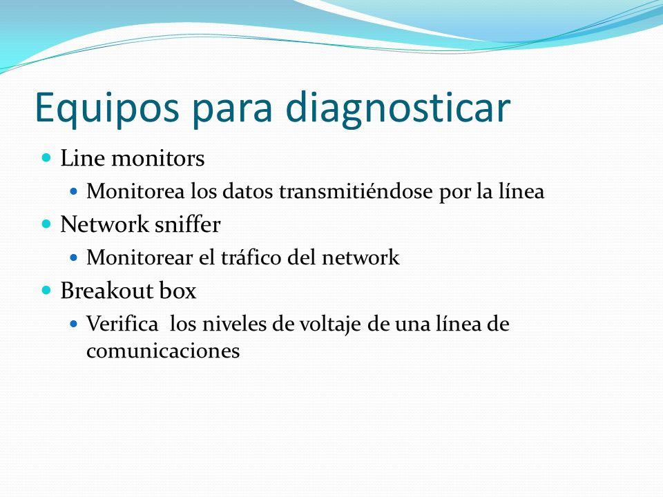 Equipos para diagnosticar Line monitors Monitorea los datos transmitiéndose por la línea Network sniffer Monitorear el tráfico del network Breakout bo