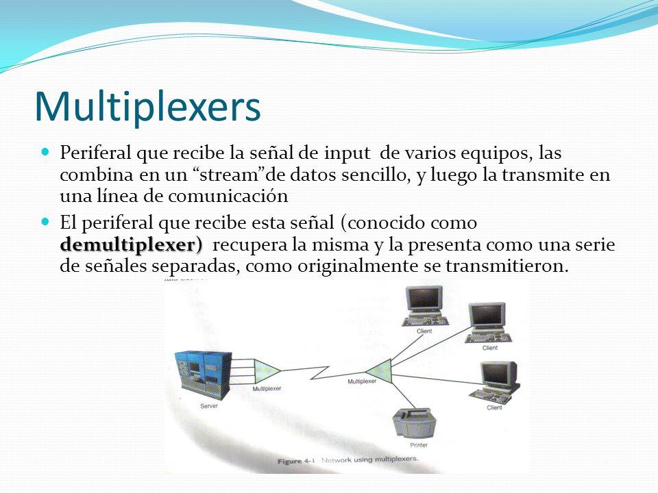 Multiplexers Periferal que recibe la señal de input de varios equipos, las combina en un streamde datos sencillo, y luego la transmite en una línea de