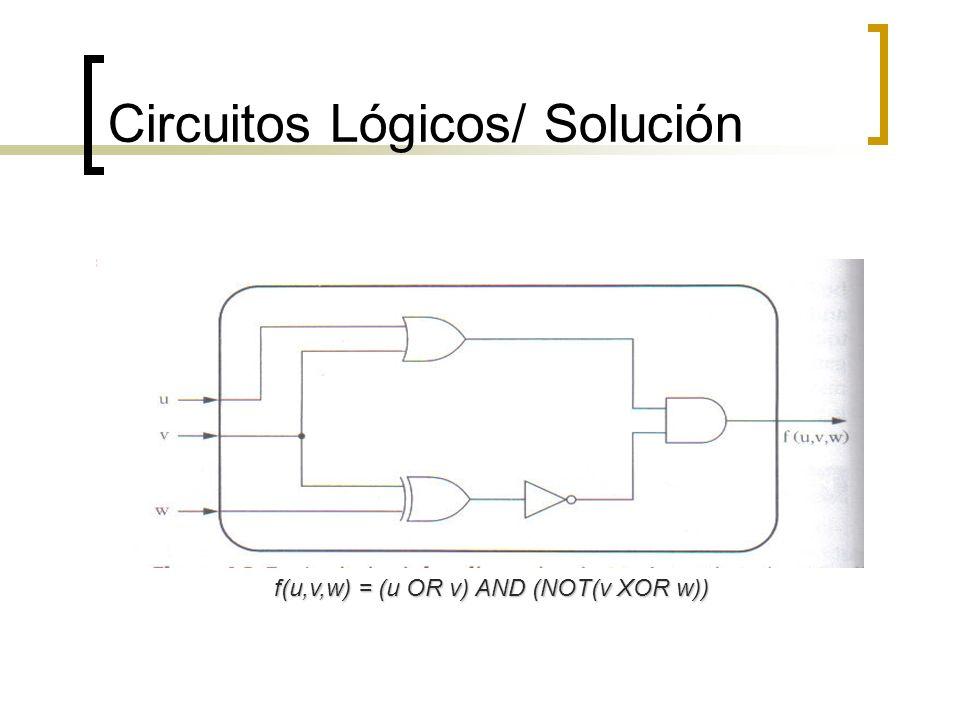 Circuitos Lógicos/ Solución f(u,v,w) = (u OR v) AND (NOT(v XOR w))
