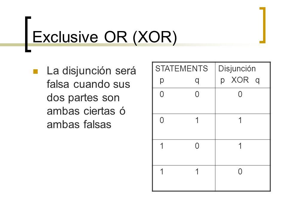 Exclusive OR (XOR) La disjunción será falsa cuando sus dos partes son ambas ciertas ó ambas falsas STATEMENTS p q Disjunción p XOR q 0 0 0 0 1 1 1 0 1