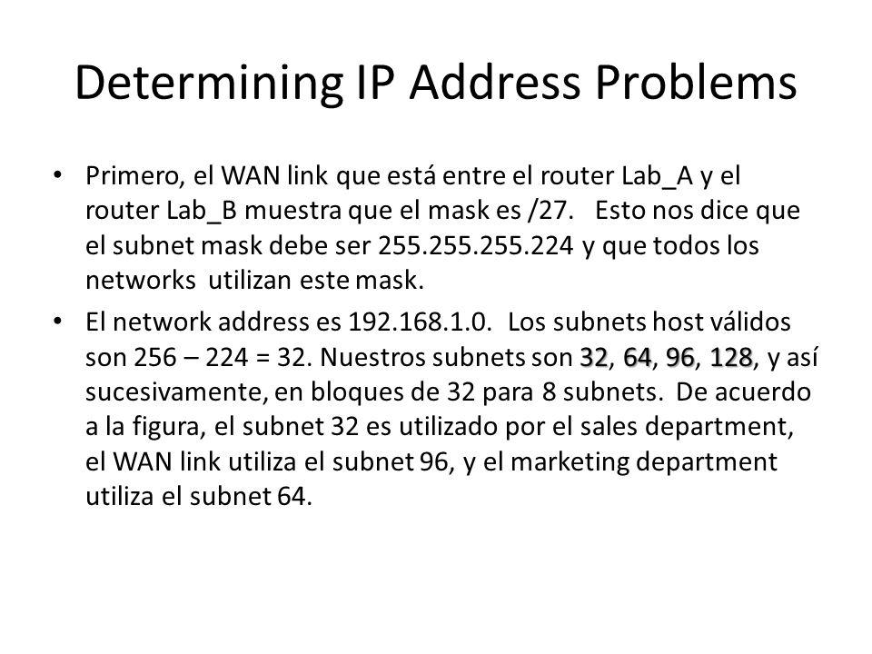 Determining IP Address Problems Primero, el WAN link que está entre el router Lab_A y el router Lab_B muestra que el mask es /27.