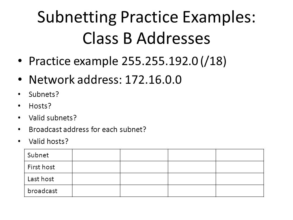 Subnetting Practice Examples: Class B Addresses Practice example 255.255.192.0 (/18) Network address: 172.16.0.0 Subnets? Hosts? Valid subnets? Broadc