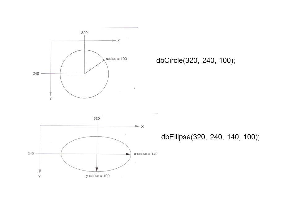 dbCircle(320, 240, 100); dbEllipse(320, 240, 140, 100);