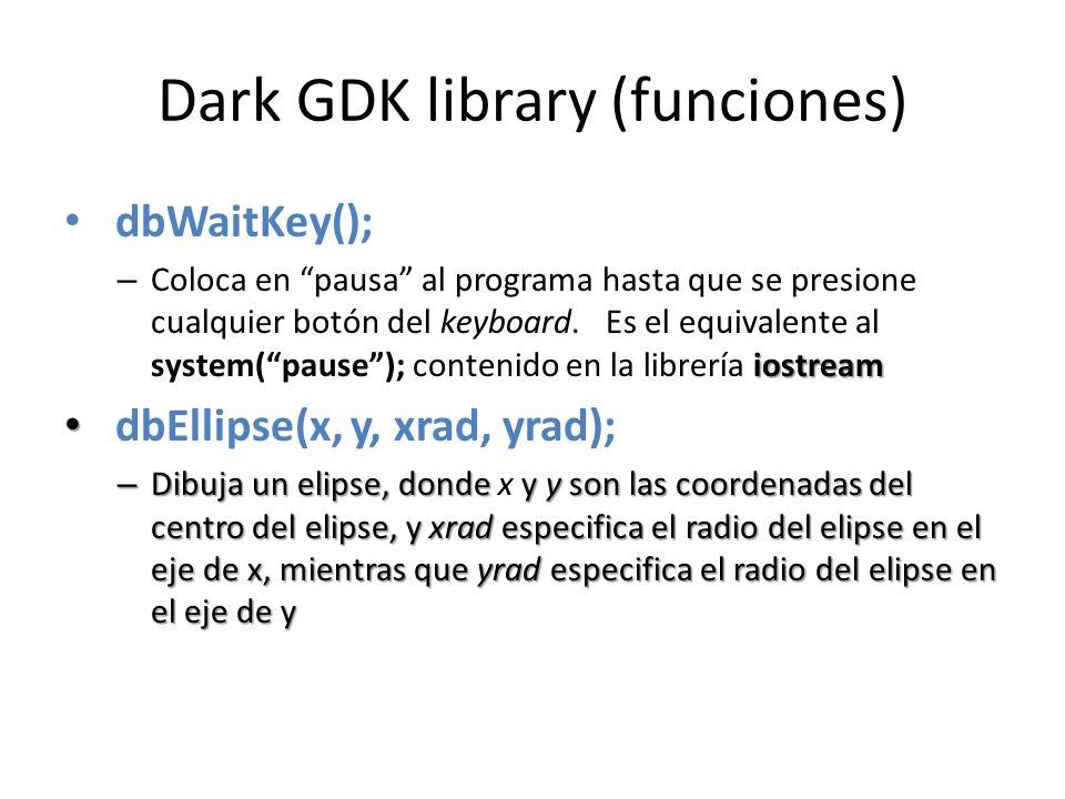Dark GDK library (funciones) dbWaitKey(); iostream – Coloca en pausa al programa hasta que se presione cualquier botón del keyboard.