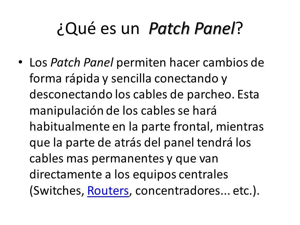 Patch Panel ¿Qué es un Patch Panel? Los Patch Panel permiten hacer cambios de forma rápida y sencilla conectando y desconectando los cables de parcheo