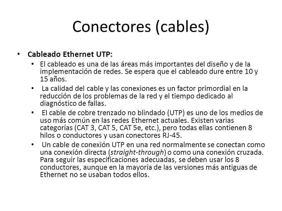Conectores (cables) Cableado Ethernet UTP: El cableado es una de las áreas más importantes del diseño y de la implementación de redes. Se espera que e