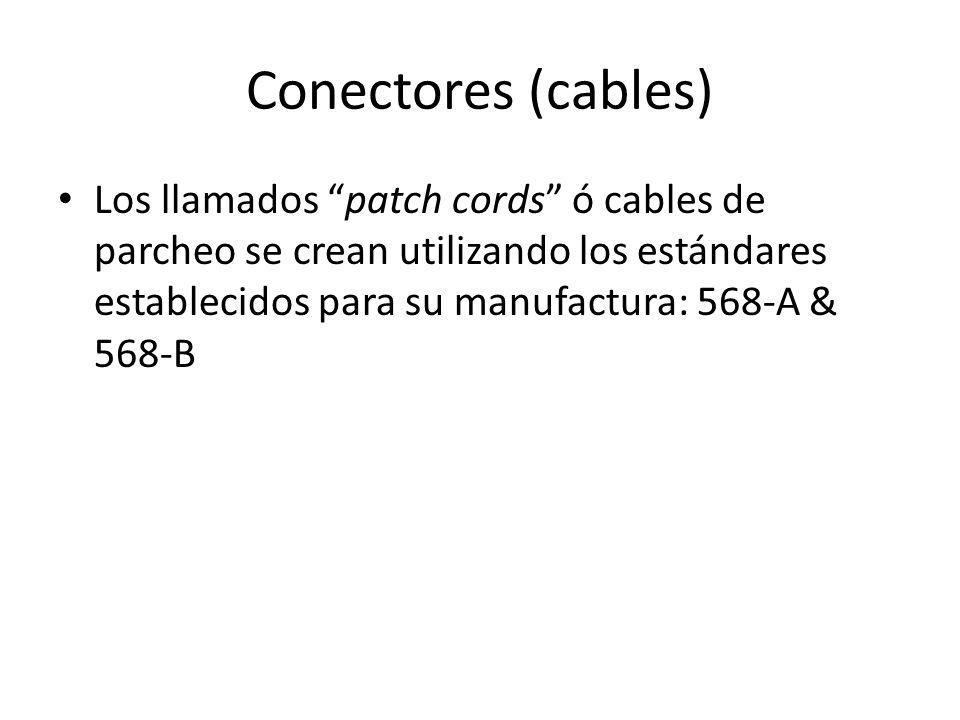 Conectores (cables) Los llamados patch cords ó cables de parcheo se crean utilizando los estándares establecidos para su manufactura: 568-A & 568-B