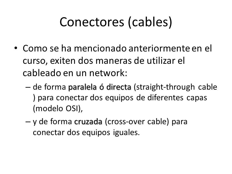 Conectores (cables) Como se ha mencionado anteriormente en el curso, exiten dos maneras de utilizar el cableado en un network: paralela ó directa – de