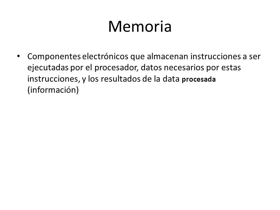 Memoria Componentes electrónicos que almacenan instrucciones a ser ejecutadas por el procesador, datos necesarios por estas instrucciones, y los resul
