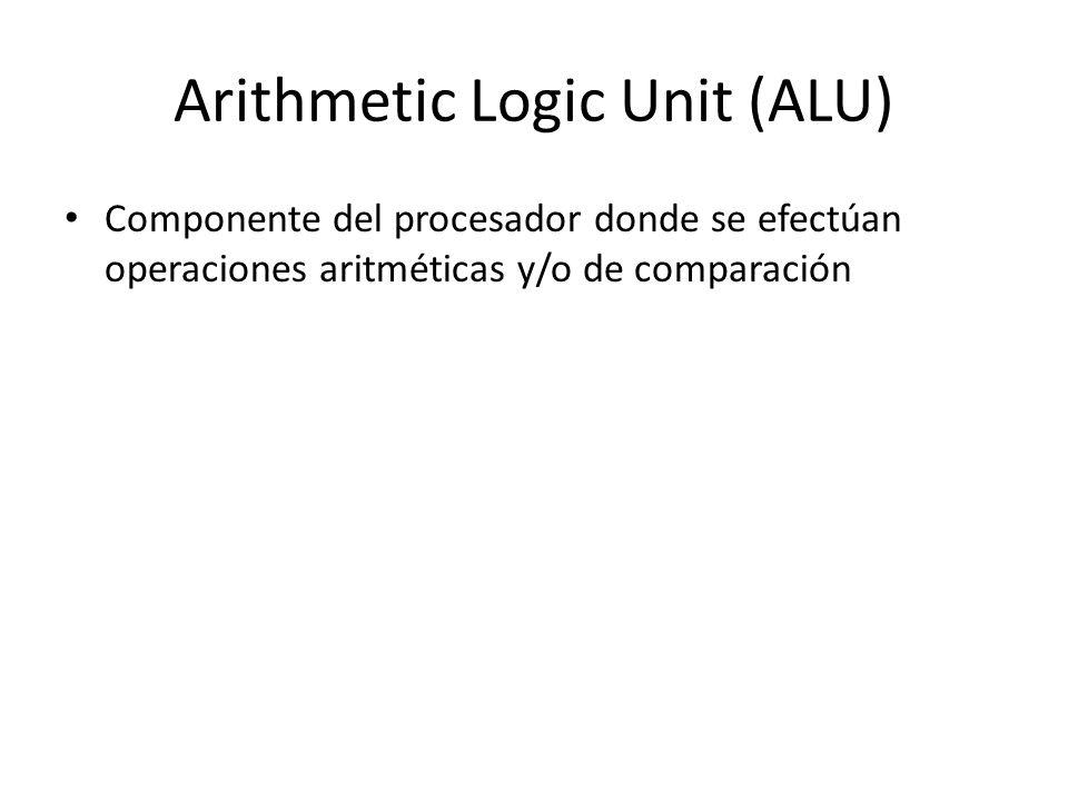 Arithmetic Logic Unit (ALU) Componente del procesador donde se efectúan operaciones aritméticas y/o de comparación