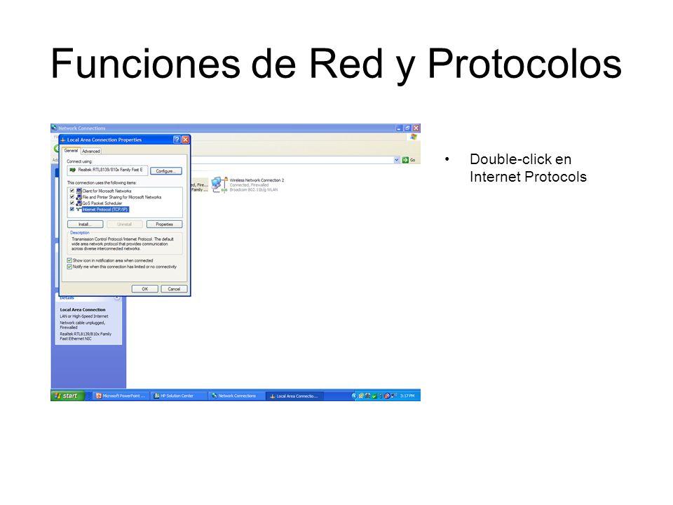 Funciones de Red y Protocolos Double-click en Internet Protocols