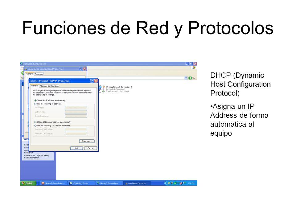 Funciones de Red y Protocolos Dynamic Host Configuration Protocol DHCP (Dynamic Host Configuration Protocol) Asigna un IP Address de forma automatica