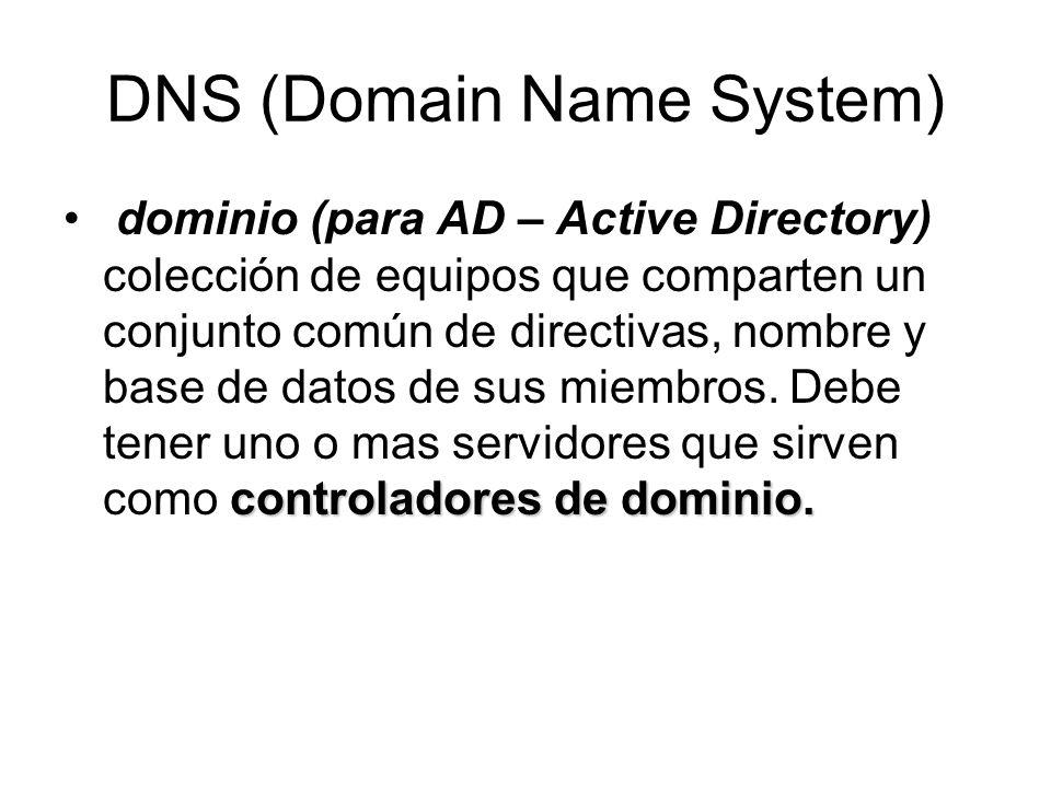 DNS (Domain Name System) controladores de dominio. dominio (para AD – Active Directory) colección de equipos que comparten un conjunto común de direct