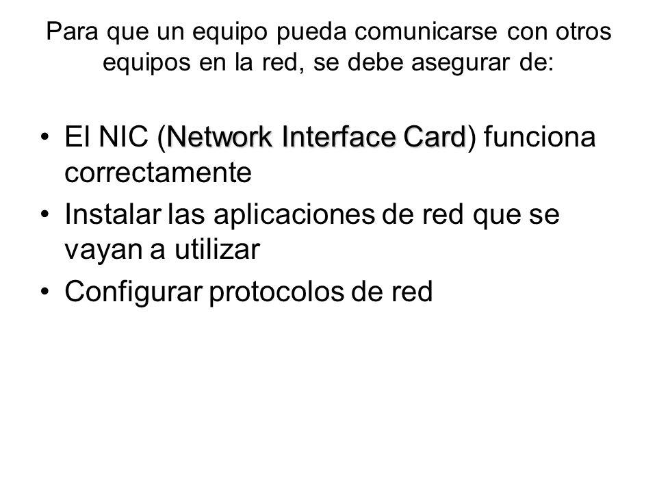 Para que un equipo pueda comunicarse con otros equipos en la red, se debe asegurar de: Network Interface CardEl NIC (Network Interface Card) funciona