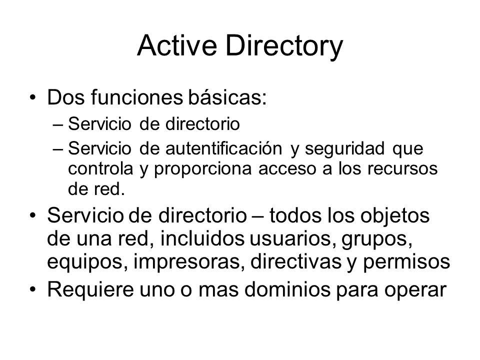 Active Directory Dos funciones básicas: –Servicio de directorio –Servicio de autentificación y seguridad que controla y proporciona acceso a los recur