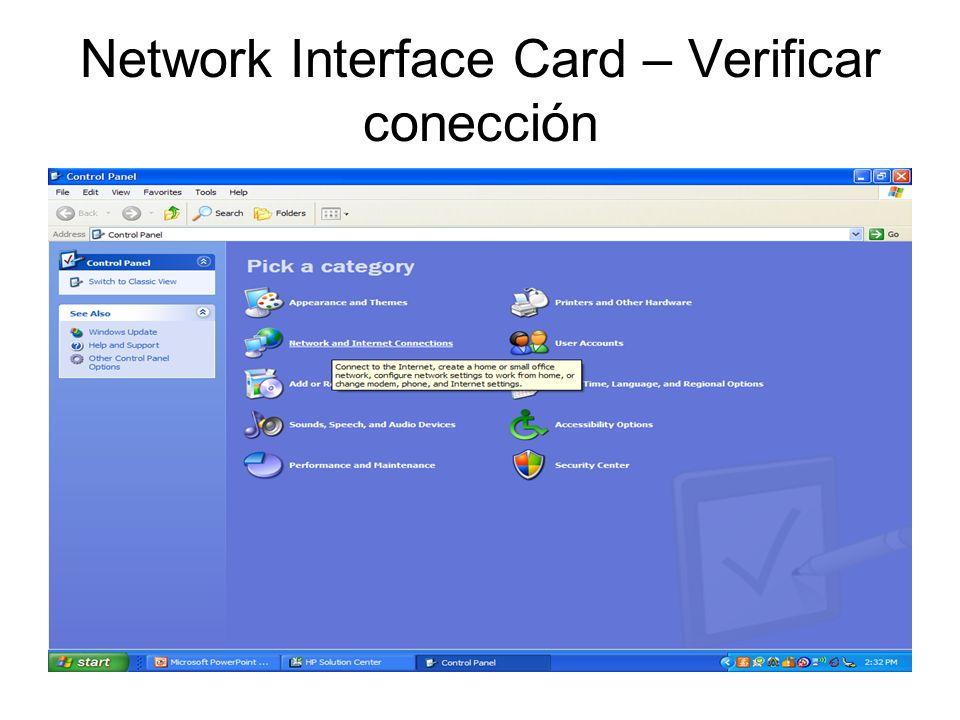 Network Interface Card – Verificar conección