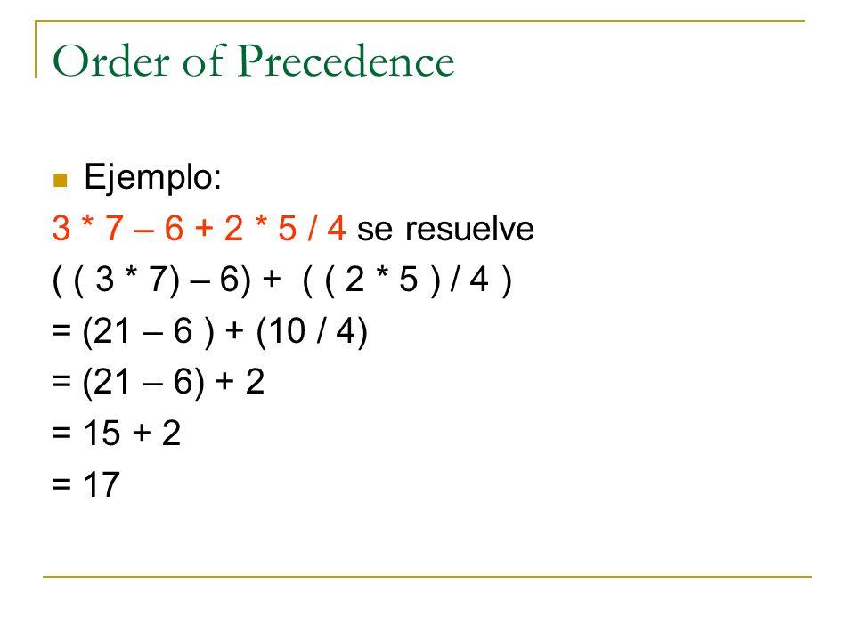 Order of Precedence Ejemplo: 3 * 7 – 6 + 2 * 5 / 4 se resuelve ( ( 3 * 7) – 6) + ( ( 2 * 5 ) / 4 ) = (21 – 6 ) + (10 / 4) = (21 – 6) + 2 = 15 + 2 = 17