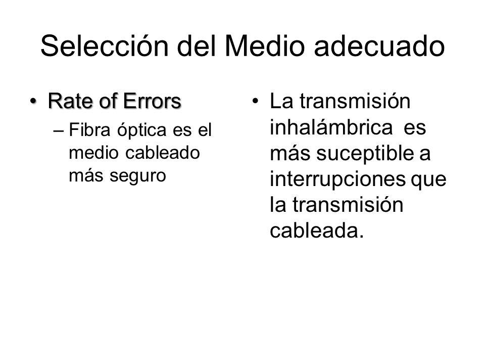 Selección del Medio adecuado Rate of ErrorsRate of Errors –Fibra óptica es el medio cableado más seguro La transmisión inhalámbrica es más suceptible a interrupciones que la transmisión cableada.