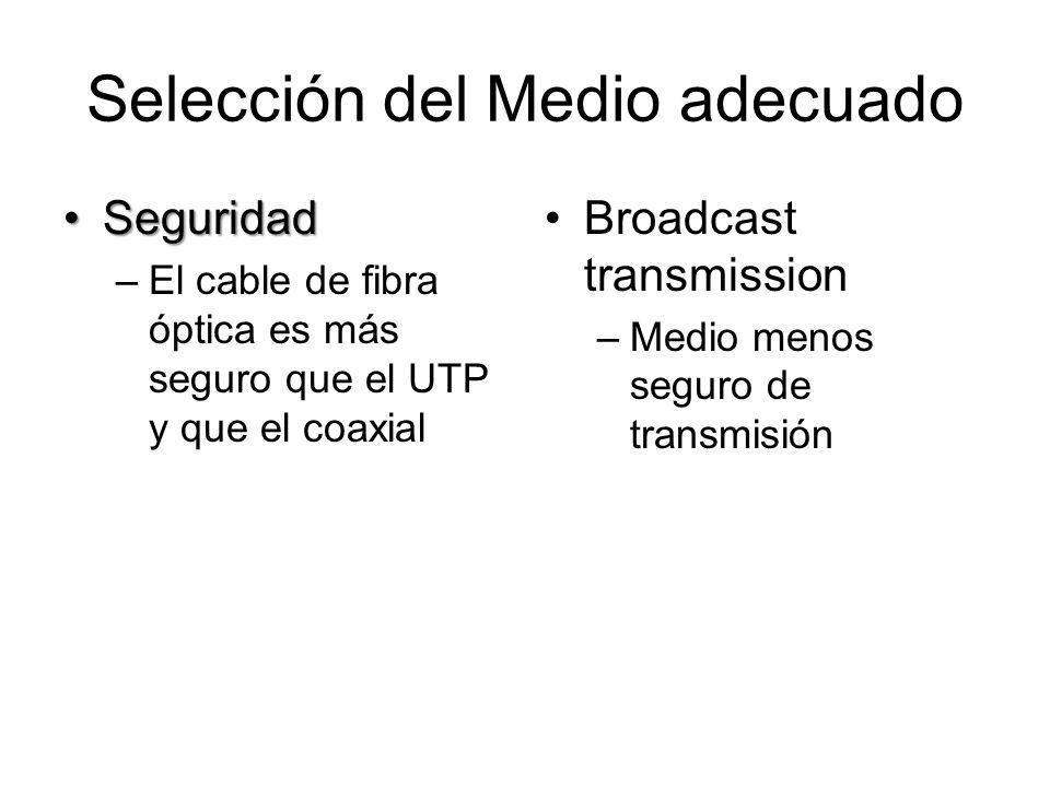 Selección del Medio adecuado SeguridadSeguridad –El cable de fibra óptica es más seguro que el UTP y que el coaxial Broadcast transmission –Medio meno