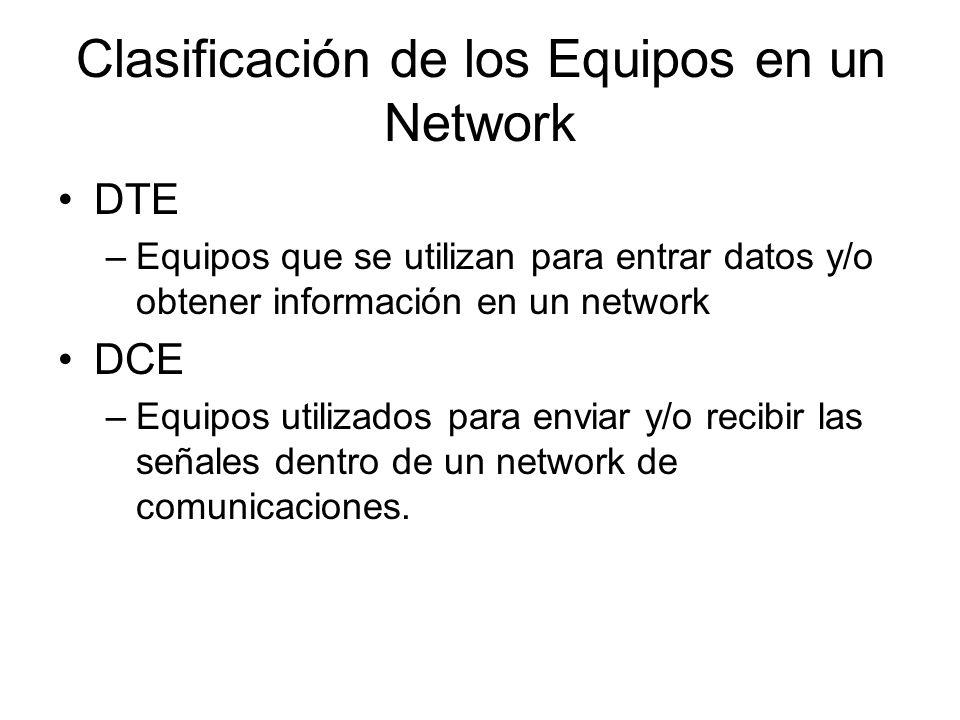 Clasificación de los Equipos en un Network DTE –Equipos que se utilizan para entrar datos y/o obtener información en un network DCE –Equipos utilizados para enviar y/o recibir las señales dentro de un network de comunicaciones.
