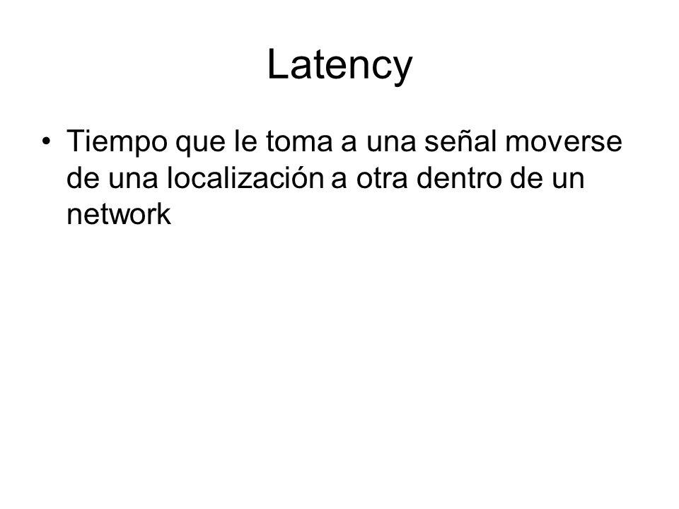 Latency Tiempo que le toma a una señal moverse de una localización a otra dentro de un network