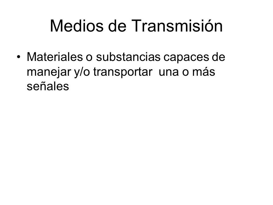 Medios de Transmisión Materiales o substancias capaces de manejar y/o transportar una o más señales