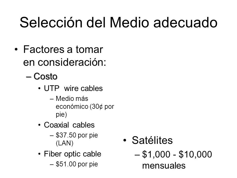 Selección del Medio adecuado Factores a tomar en consideración: –Costo UTP wire cables –Medio más económico (30¢ por pie) Coaxial cables –$37.50 por pie (LAN) Fiber optic cable –$51.00 por pie Satélites –$1,000 - $10,000 mensuales