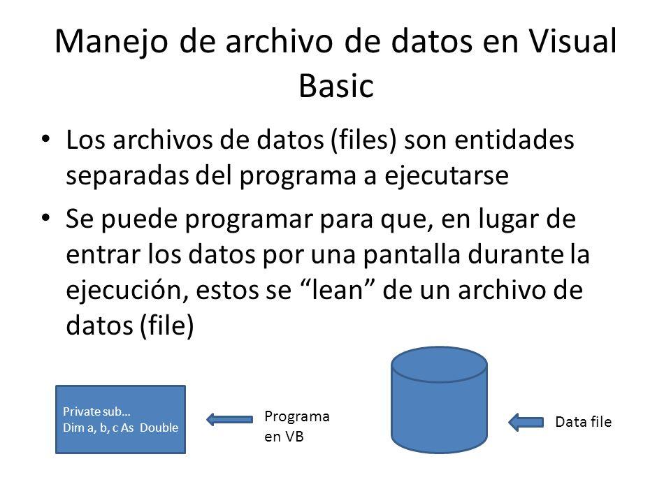 Manejo de archivo de datos en Visual Basic Los archivos de datos (files) son entidades separadas del programa a ejecutarse Se puede programar para que